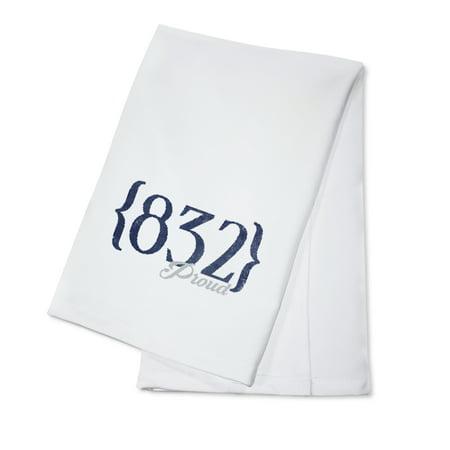 Houston, Texas - 832 Area Code (Blue) - Lantern Press Artwork (100% Cotton Kitchen (Children's Boutiques Houston)