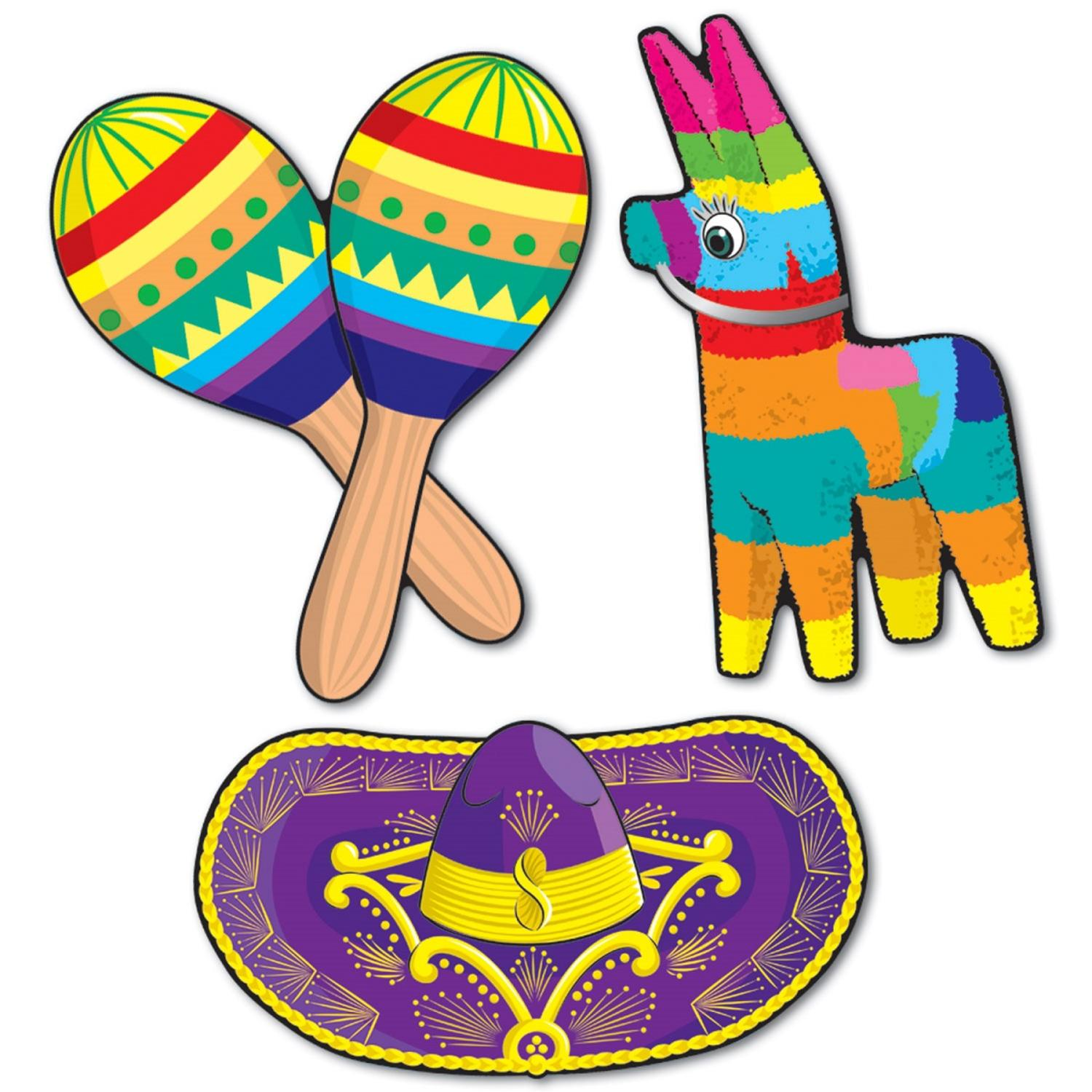 Pack of 36 Festive Multi-Colored Mexican Fiesta Cutout Party Decorations 17.5""