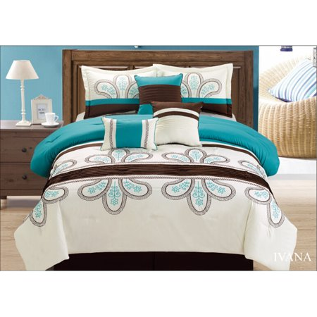 Golden Linens 7 Pcs Off White Turquoise Brown High Quality Luxury Design  Embroidery Comforter Set King Size# IVANA