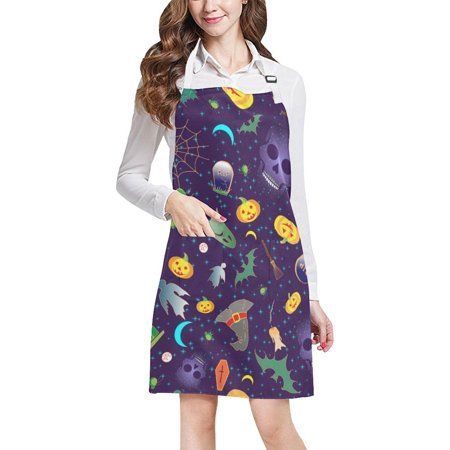 ASHLEIGH Merry Halloween Apron BBQ Aprons Kitchen Aprons With Two Pockets For Women Men](Bbq Ideas For Halloween)