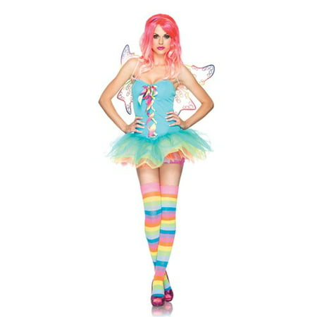 3PC.Rainbow Fairy Lace up tutu dress w/ clear straps](Fairy Dress Adult)