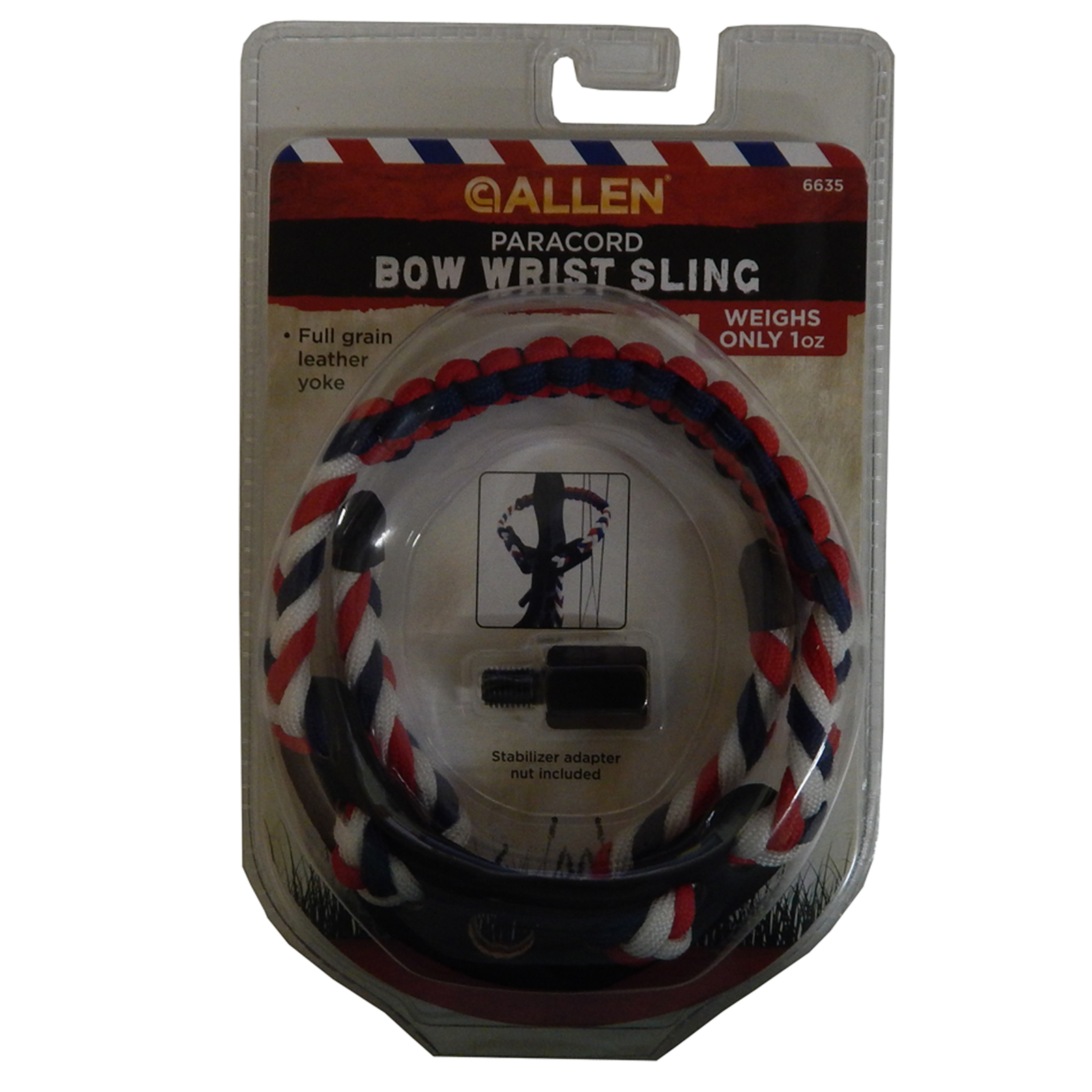 Allen Paracord Compound Bow Braided Wrist Sling Red White & Blue, 6635