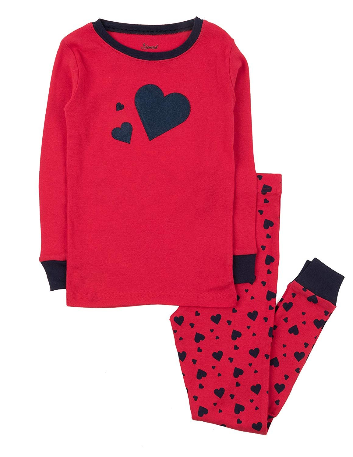 Leveret Kids Pajamas Boys Girls 2 Piece pjs Set 100% Cotton (Navy Hearts, Size 4 Toddler)