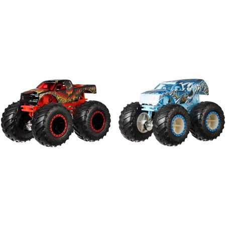 Monster Trucks Wood 4 Wheel (Hot Wheels Monster Trucks Demo Doubles 2-Pack (Styles May)