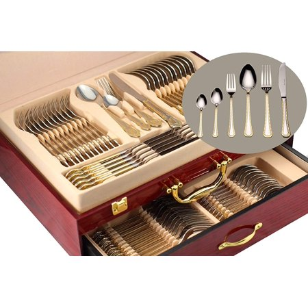 Gold Flatware Serving Set, 75-Piece Dining Service for 12, 18/10 Premium Surgical Stainless Steel, 24K Gold-Plated Trim, Silverware Cutlery Hostess Set, Wood Storage Case (Prestige) ()
