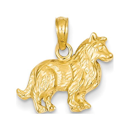 Leslies Fine Jewelry Designer 14k Yellow Gold Collie Dog (17x15mm) Pendant Gift
