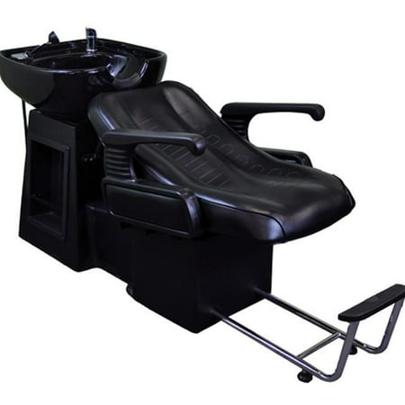 Prep Table Sink Unit (Black Reclined Beauty Salon Shampoo Bed Chair & Sink Bowl Backwash)