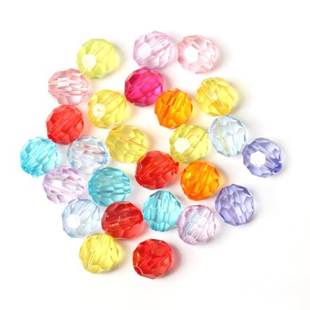900 Acrylic (Mixed Acrylic Faceted Spacer, Loose Beads, 6mm, 900 Pack (1mm Hole) )