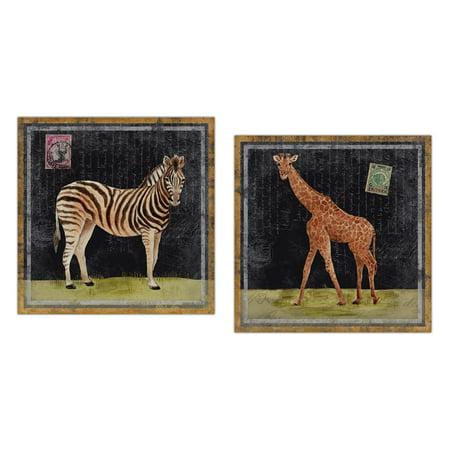 Africa Set (Popular African Safari Zebra and Giraffe Set; Two 12x12in Unframed Poster Prints )