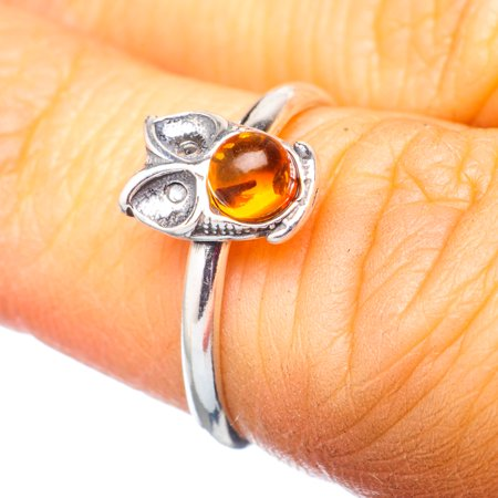 Genuine Baltic Amber Owl Ring Size 6 (925 Sterling Silver)  - Handmade Boho Vintage Jewelry RING920211
