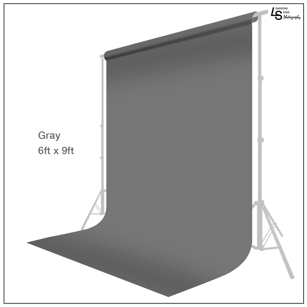 Loadstone Studio Seamless 6 x 9ft Gray Screen Muslin Backdrop Photography Background, Photo Video Studio, WMLS1448