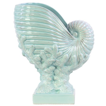Urban Trends Nautilus Seashell on Coral Pedestal Figurine