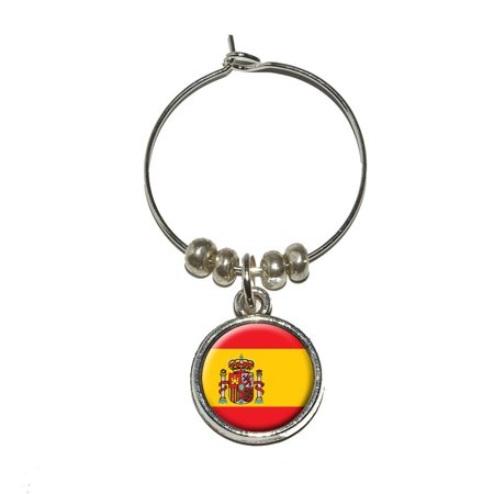 Red Spanish Wine (Spain Spanish Flag Wine Glass Charm)