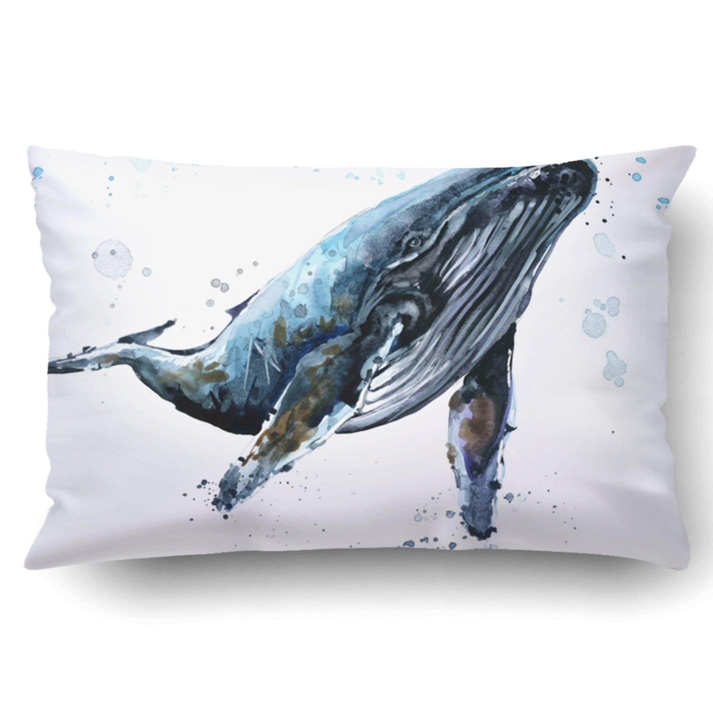 Bpbop Humpback Whale Watercolor Underwater Fauna Pillowcase Throw Pillow Cover Case 20x30 Inches Walmart Com Walmart Com