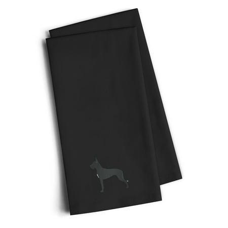 Embroidered Linen Towel Set - Black Embroidered Kitchen Towel Set of 2