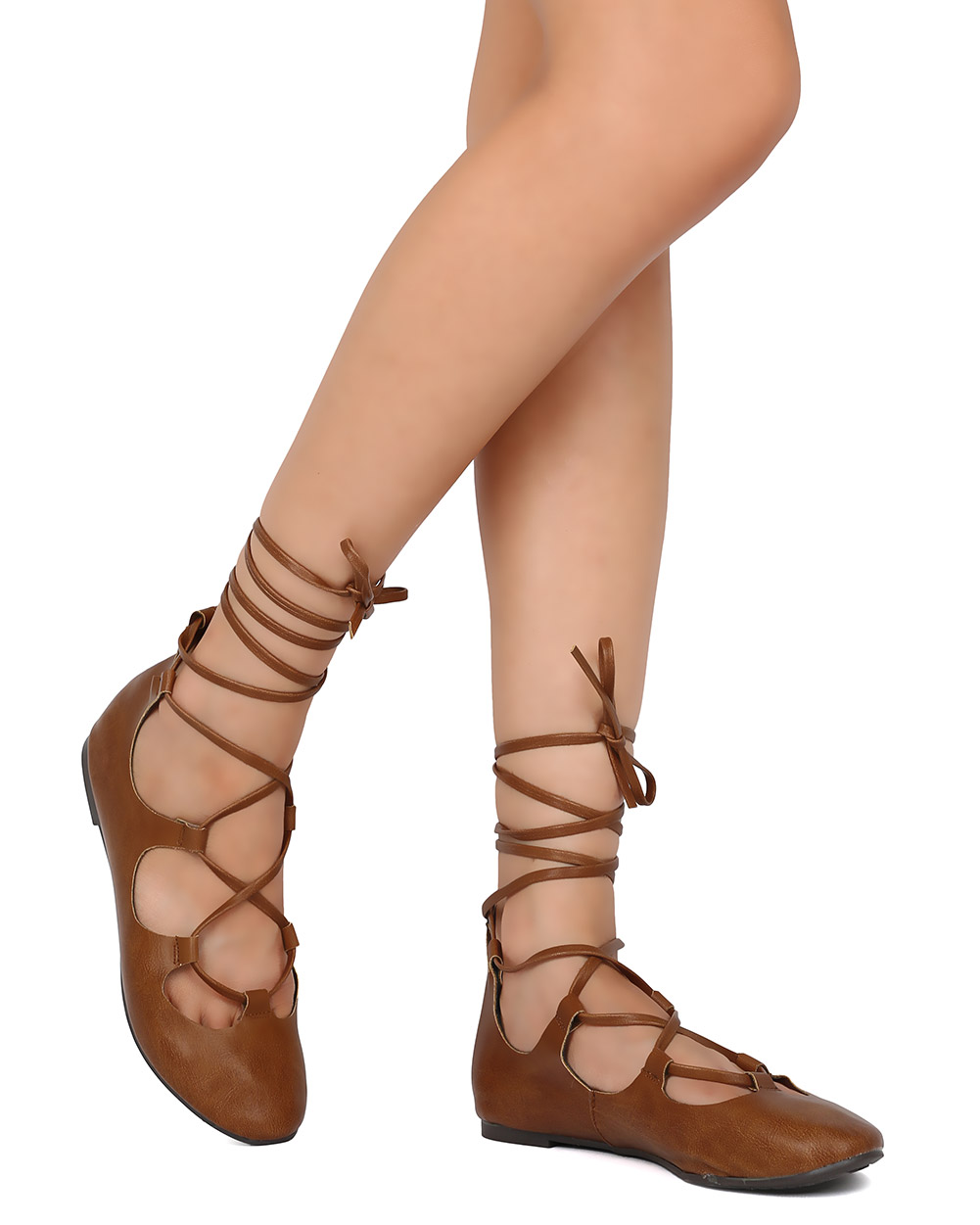 New Breckelles Ava-01 Women Leatherette Lace Up Ankle Wrap Ballet Flat