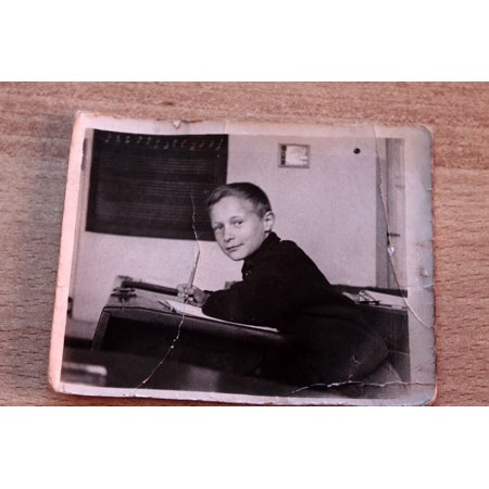 Laminated Poster Old Boy Black and White School Nostalgic Photo Poster Print 11 x 17 (Nostalgic Photo)