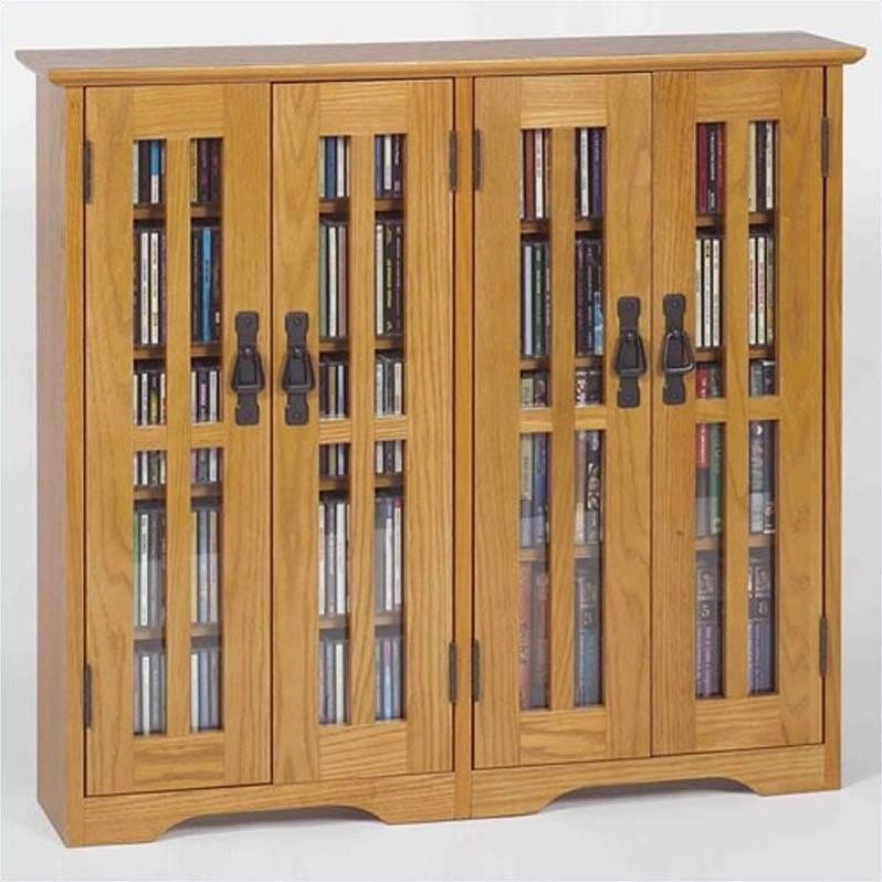 """Leslie Dame 36"""" Wall Hanging Glass Media Cabinet in Mission Oak by Leslie Dame"""