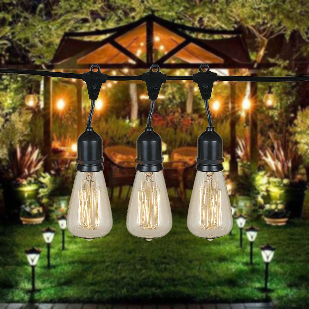 48 Foot S14 Edison Outdoor String Lights   Suspended Socket String Grade  Commercial   Lights U2013