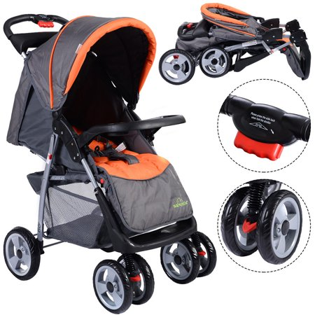 Positioning Push Chair - Costway Foldable Baby Kids Travel Stroller Newborn Infant Buggy Pushchair Child Gray