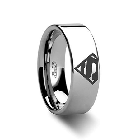 Thorsten Superman Symbol | Tungsten Rings for Men | Tungsten | Comfort Fit | Lifetime Guarantee | Polished Tungsten Engraved Super Hero Wedding Ring Band
