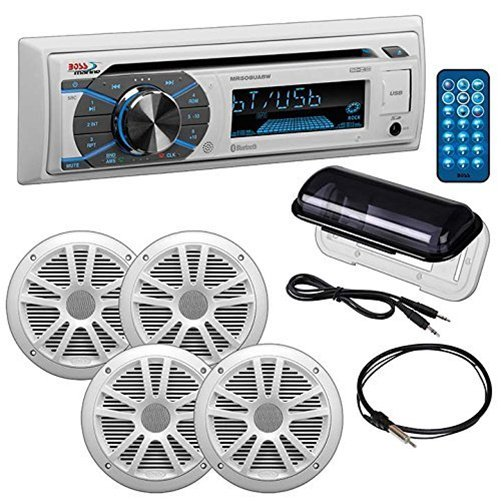 "Boss Audio MCK508WB64S Single-DIN AM/FM Receiver/ 6.5"" Marine Speakers/Marine Antenna Package, White"