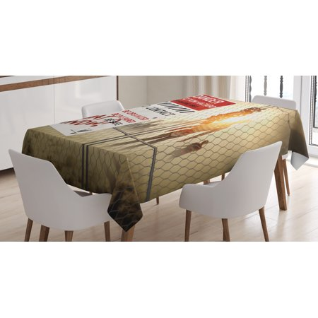 Zombie Decor Tablecloth, Dead Man Walking Dark Danger Scary Scene Fiction Halloween Infection Picture, Rectangular Table Cover for Dining Room Kitchen, 52 X 70 Inches, Multicolor, by Ambesonne