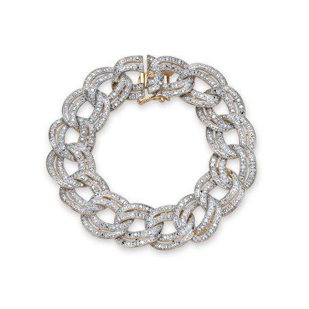 7/8 TCW Diamond Double Rolo-Link Bracelet 18k Yellow Gold-Plated ()