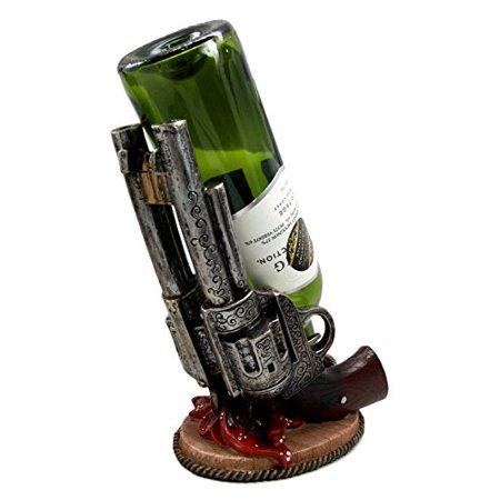 "Atlantic Collectibles Western Six Shooter Cowboy Pistol Wine Bottle Holder Caddy Figurine 9.75"" Long"