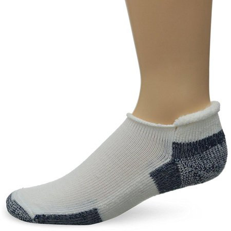 thorlos unisex thick padded running socks, roll top, white/navy, x-large (women's shoe size: 10.5-13, men's shoe size: 9 -