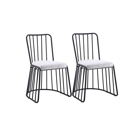 Dining Chairs Set of 2, Fabric Side Chair for Living Room 2 Pieces (Grey / Black) ()