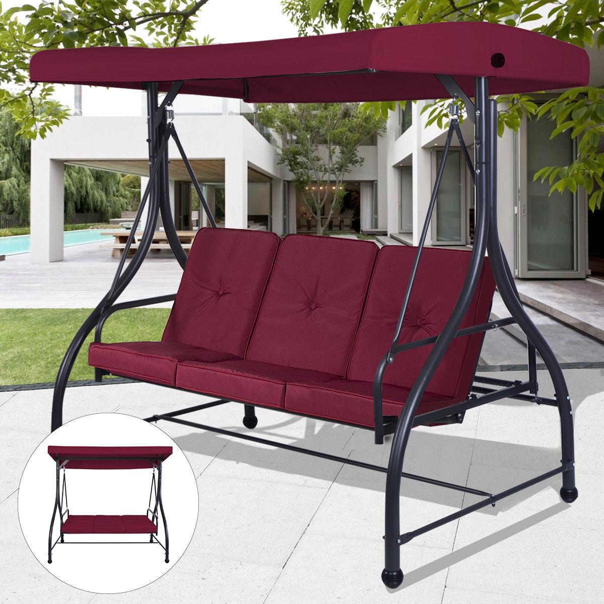 Costway Converting Outdoor Swing Canopy Hammock 3 Seats Patio Deck Furniture Wine Red by Costway