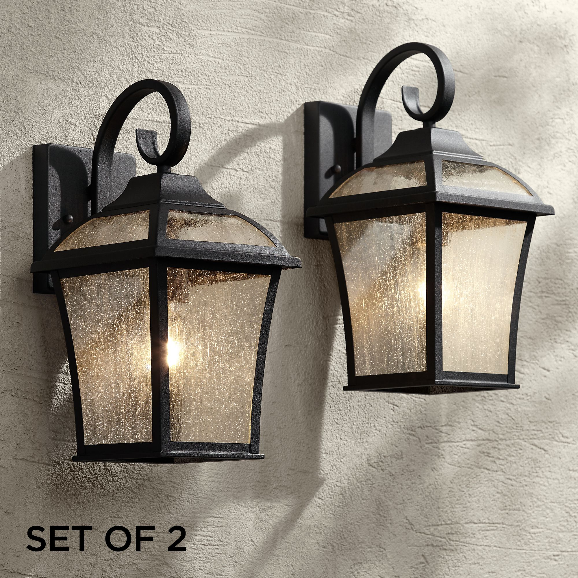 "John Timberland Set of 2 Mosconi 15"" High Black Outdoor Wall Lights"