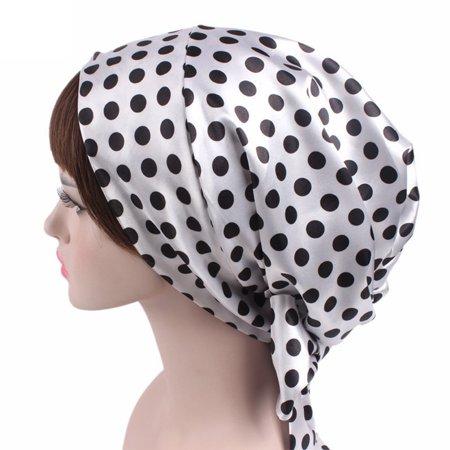 Hot Soft Bonnet Replacement - Women Fashion Printing Soft Satin Sleeping Cap Salon Bonnet with Long Drawstring White black dot