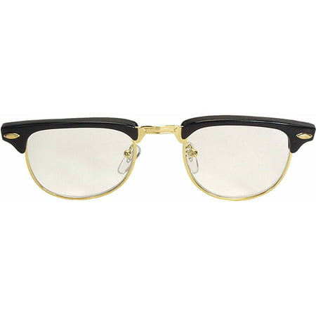 Black Glasses Mr '50s (Clear Lens) Adult Halloween Accessory (Fake Contact Lenses For Halloween Uk)