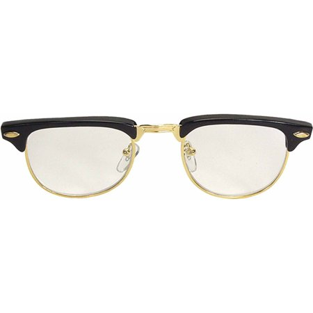 Black Glasses Mr '50s (Clear Lens) Adult Halloween Accessory