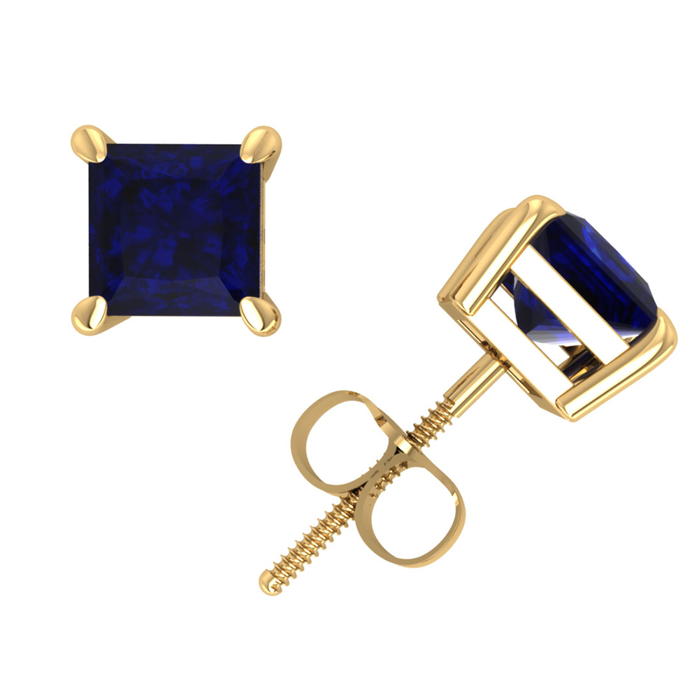 1.25Ct Princess Blue Sapphire Basket Stud Earrings 14K Yellow Gold Prong Commercial Quality