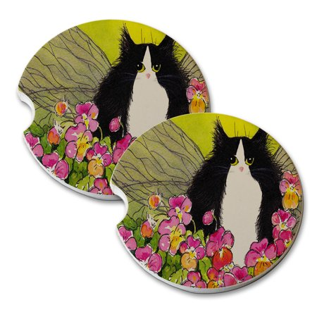 KuzmarK Sandstone Car Drink Coaster (set of 2) - Tuxedo Maine Coon Kitty Fairy with Pansies Cat Art by Denise Every (Pansy Coasters)