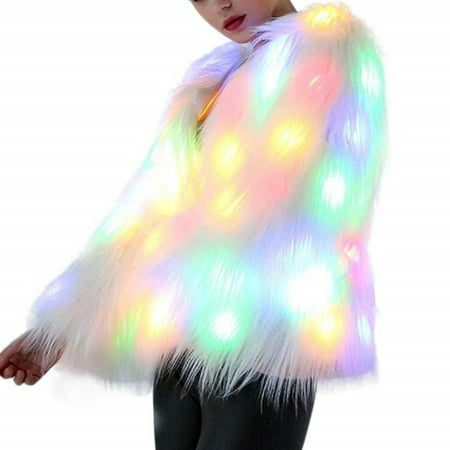 Nicesee Women LED Light Faux Fur Coat Stage Costumes](White Fur Coat Costume)