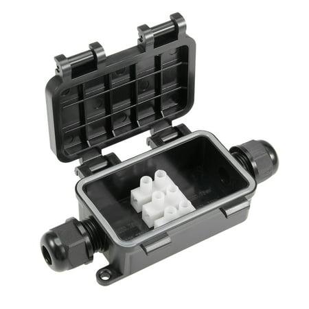 Waterproof Outdoor 2 Way Electrical Junction Box 118x42x30mm with Terminal Strip - image 1 de 5