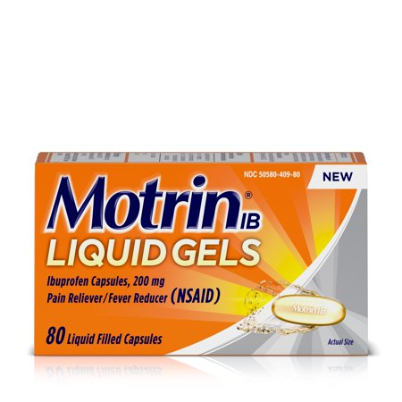 Motrin IB Liquid Gels, Ibuprofen 200mg, Pain & Fever Relief, 80 - Emu Gel
