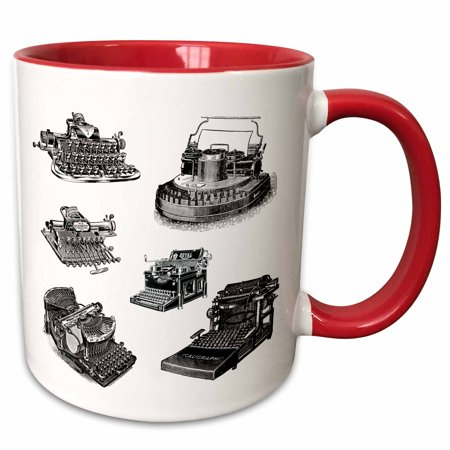 3dRose Several Old Typewriters Artwork - Two Tone Red Mug, 11-ounce Several Old Typewriters Artwork Mug is available in both 11 oz and 15 oz. Why drink out of an ordinary mug when a custom printed mug is so much cooler? This ceramic mug is lead free, microwave safe and FDA approved. Image is printed on both sides. Hand washing is recommended.
