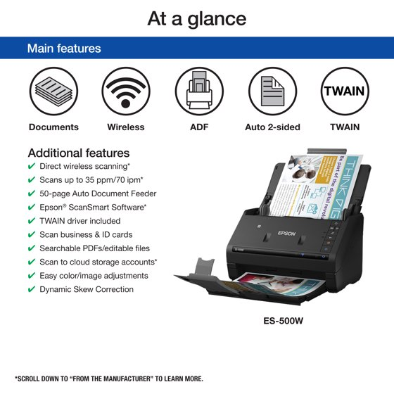 Epson WorkForce ES-500W Wireless Color Duplex Document