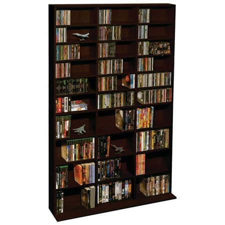 "Atlantic 71""x40"" Oskar 1080 Adjustable Shelf Wood Media Storage Wall Bookcase (1080 CDs, 504 DVDs, 576 BluRays)"