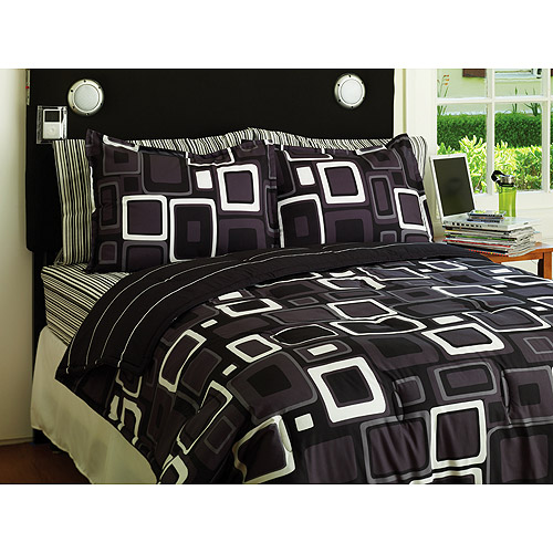 your zone comforter set, black & white geo