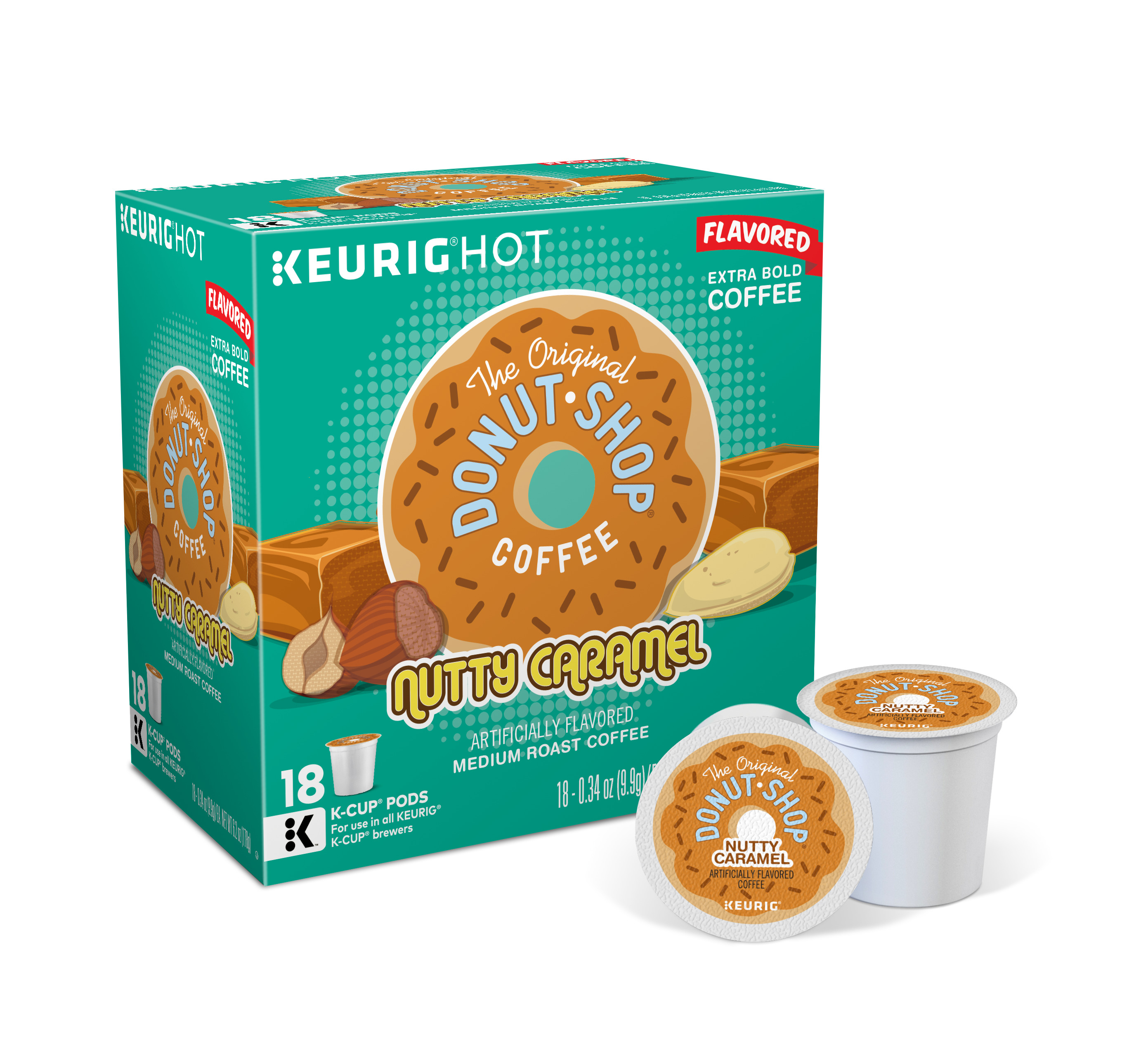 The Original Donut Shop Nutty Caramel Keurig Single-Serve K-Cup Pods, Medium Roast Coffee, 18 Count