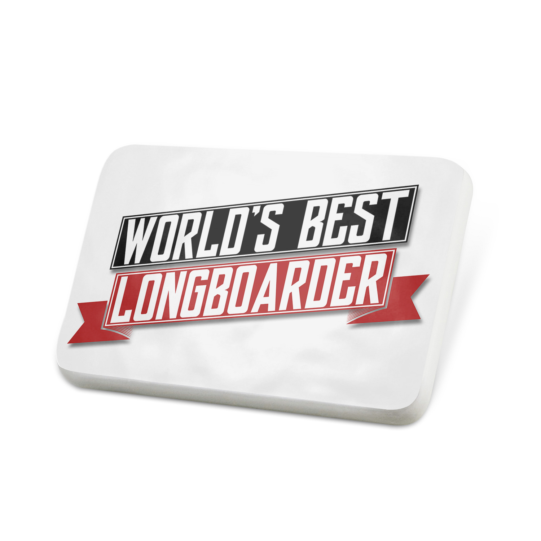 Porcelein Pin Worlds Best Longboarder Lapel Badge – NEONBLOND