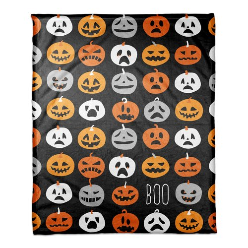 The Holiday Aisle Bodie Boo Pumpkin Pattern Fleece Blanket