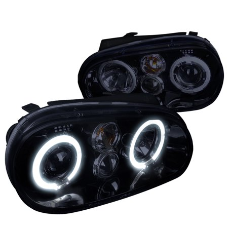 Spec-D Tuning 1999-2005 Volkswagen Golf Dual Halo Projector Headlights Mk4 1999 2000 2001 2002 2003 2004 2005 (Left + Right) - Golf Dual Halo Projector Headlights