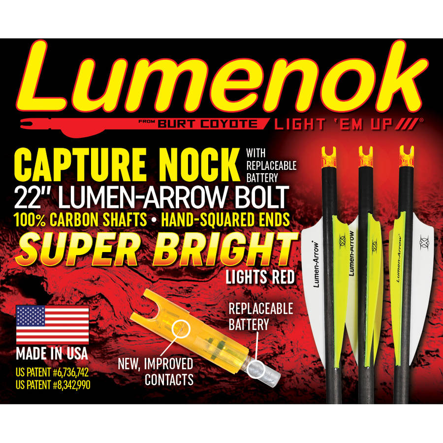 "Burt Coyote Lumenok Crossbow 22"" Carbon Capture Nock Lumen-Arrow Bolt, Super Bright Lights Red, 3pk"